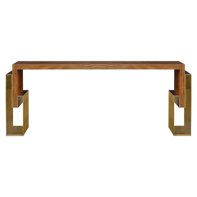 """Contemporary Handcrafted Console """"Alke"""" in Wood with Brass Pedestals by Anaktae For Sale"""