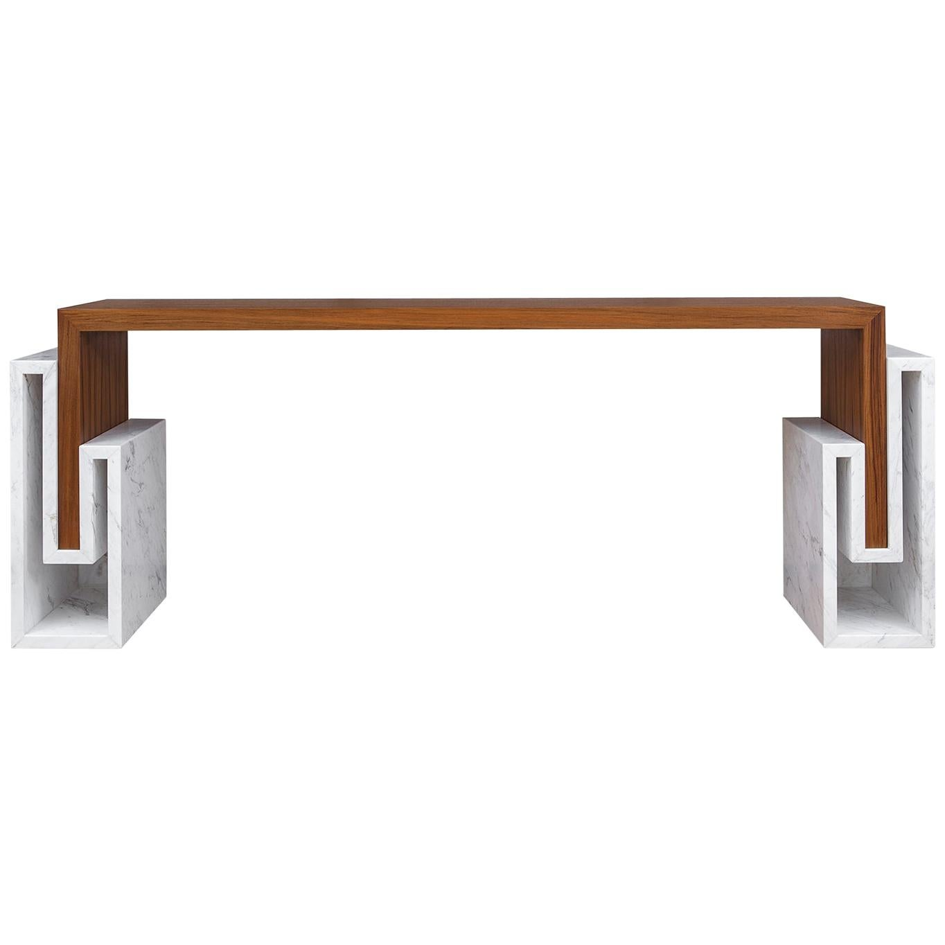 """Contemporary Handcrafted Console """"Alke"""" in Wood with Marble Pedestals by Anaktae"""