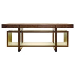 "Contemporary Handcrafted Console ""Oeneus"" in Wood, Lined with Brass by Anaktae"