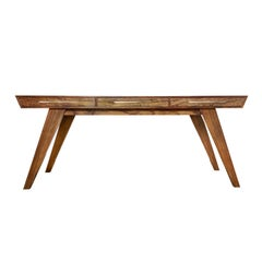 "Contemporary Handcrafted Desk ""Timaios"" in Wood, with Inclined Legs by Anaktae"