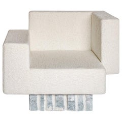 "Contemporary Handcrafted Geometric Armchair ""Paeon"" Rough Marble Base by Anaktae"