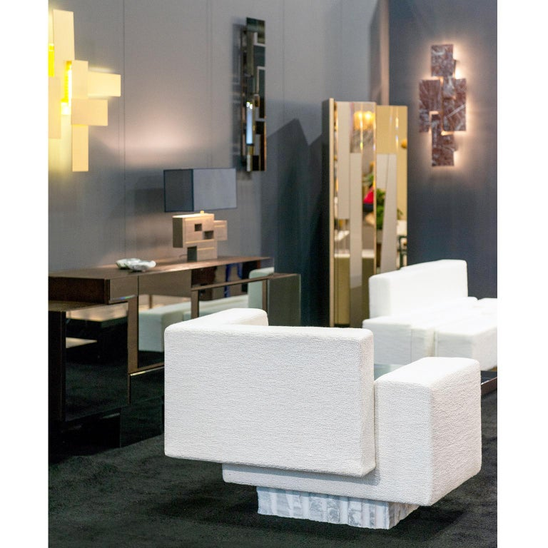 Greek Contemporary Handcrafted Geometric Armchair, Rough Marble Base, 1stdibs New York For Sale