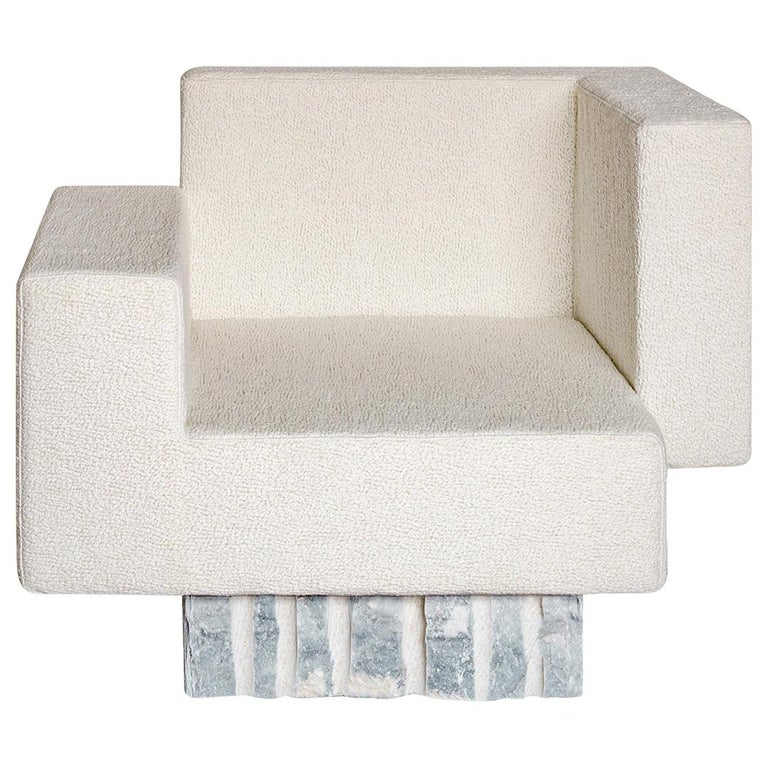 Contemporary Handcrafted Geometric Armchair, Rough Marble Base, 1stdibs New York For Sale