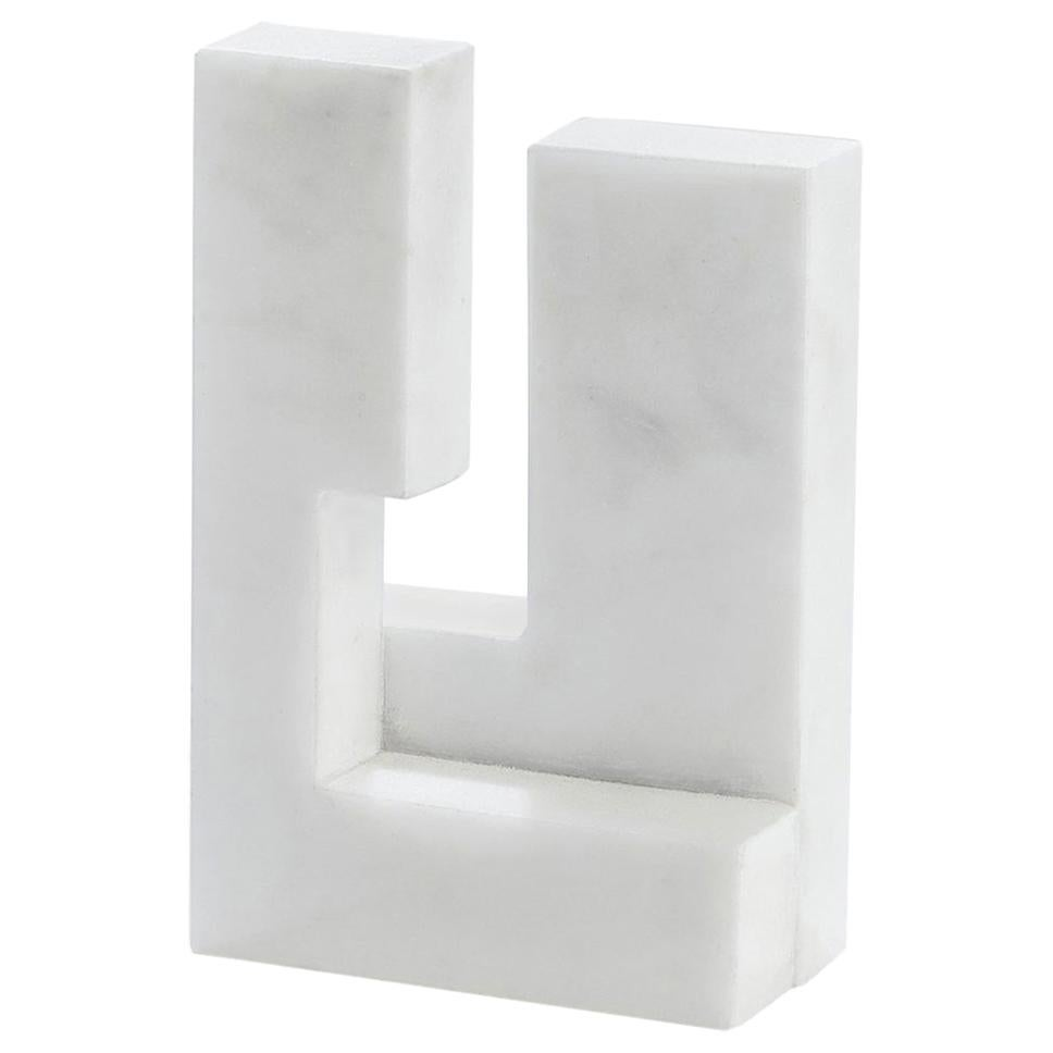 """Contemporary Handcrafted Geometric Bookend """"Tropi 1"""" in Solid Marble by Anaktae"""
