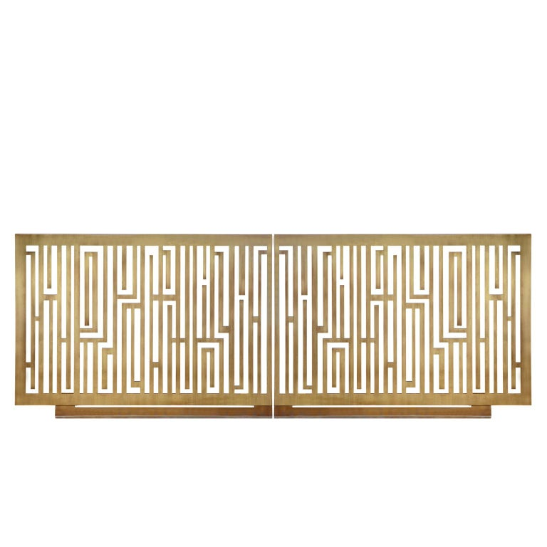 Contemporary Handcrafted Geometric Fireplace Screen