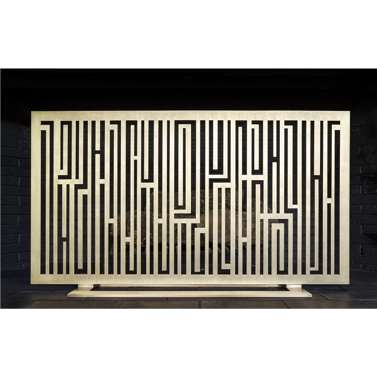 Modern Contemporary Handcrafted Geometric Fireplace Screen