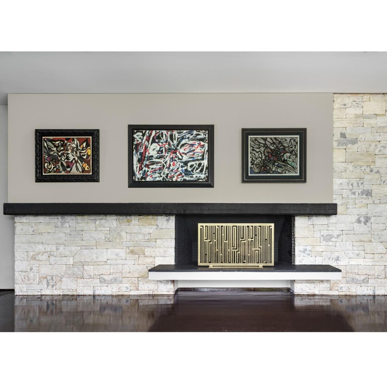 Contemporary, handcrafted fireplace screen model