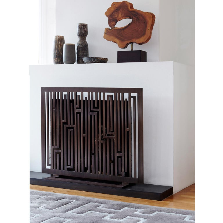 Hand-Crafted Contemporary Handmade Geometric Fireplace Screen