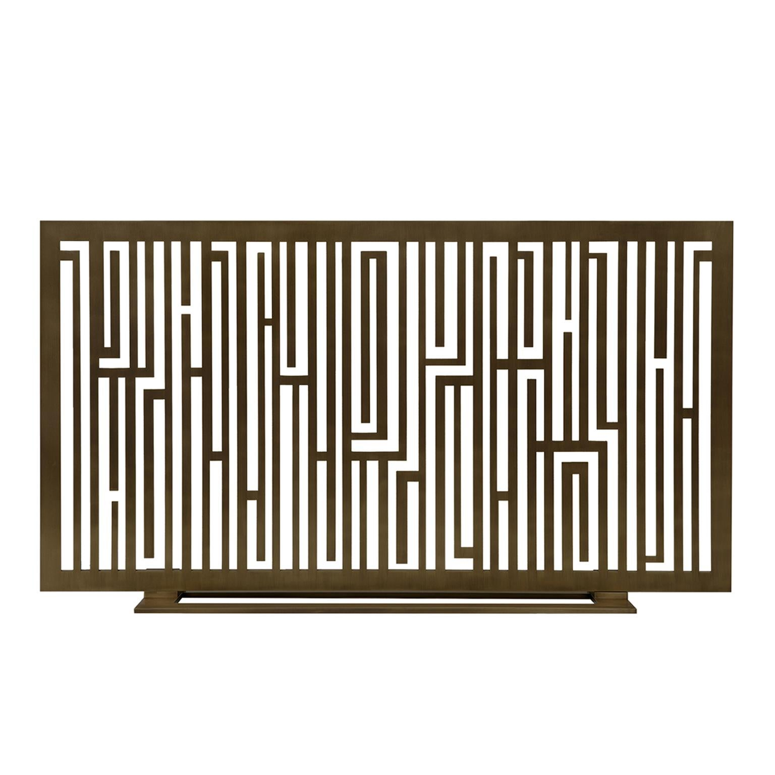 """Contemporary Handmade Geometric Fireplace Screen """"Rimbaud"""" in Brass by Anaktae"""