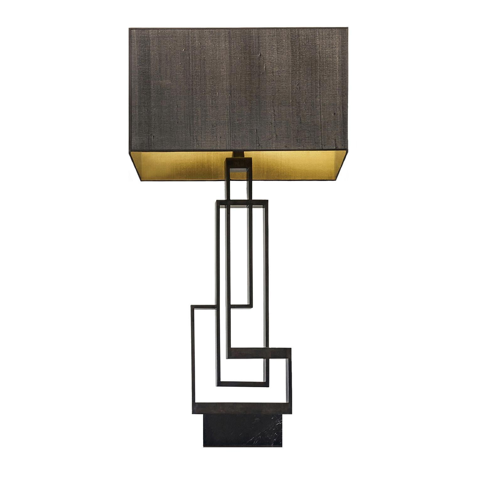 """Contemporary Handmade Geometric Table Lamp """"Ilios"""", Brass and Marble by Anaktae"""