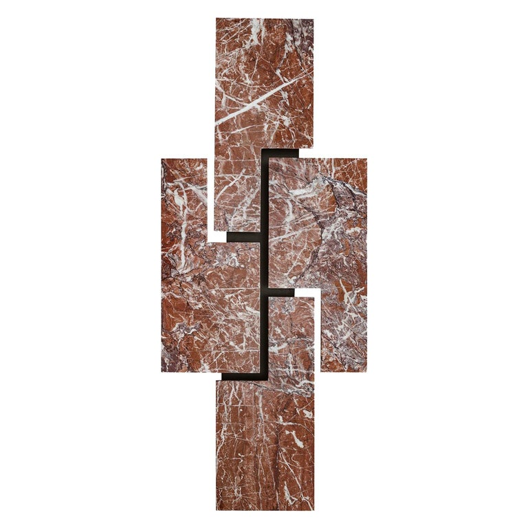 "Contemporary Handmade Wall Lamp ""Ego"" with a Geometric Marble Facade by Anaktae For Sale"