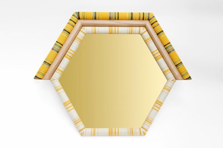 Arts and Crafts Contemporary Handcrafted Pontiac Triangle Mirror with Paul Smith Upholstery For Sale