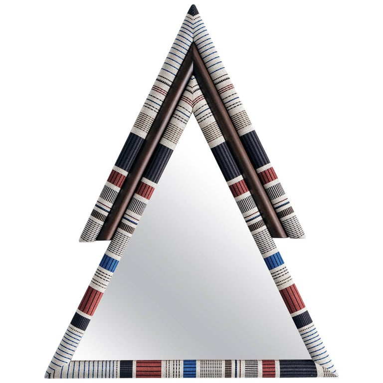 Contemporary Handcrafted Pontiac Triangle Mirror with Paul Smith Upholstery For Sale