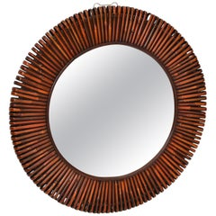 Contemporary Handcrafted Round Bent Rattan and Wood Mirror