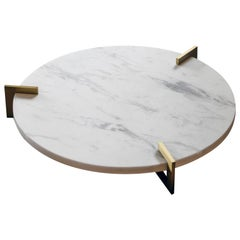"""Contemporary Handcrafted Round Tray """"Ophelos"""" in Marble and Brass by Anaktae"""