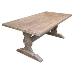 Contemporary Handcrafted Rustic Oakwood Monastery Dining Table