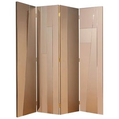 Contemporary Handcrafted Screen-Room Divider in Geometric Mirrored Surfaces