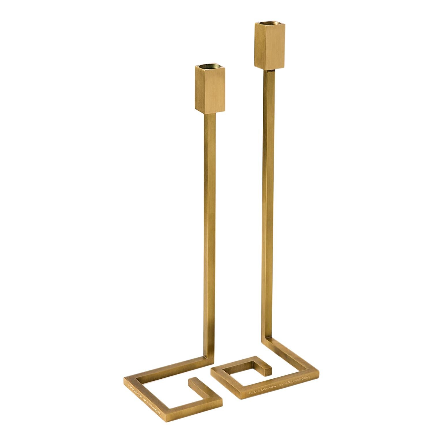 """Contemporary Handcrafted Set of Candleholders """"Thyreos"""" in Brass by Anaktae"""