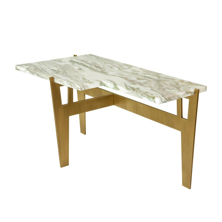 """Contemporary Handmade Side Table """"Anisetus"""" Brass Base and Marble Top by Anaktae For Sale"""