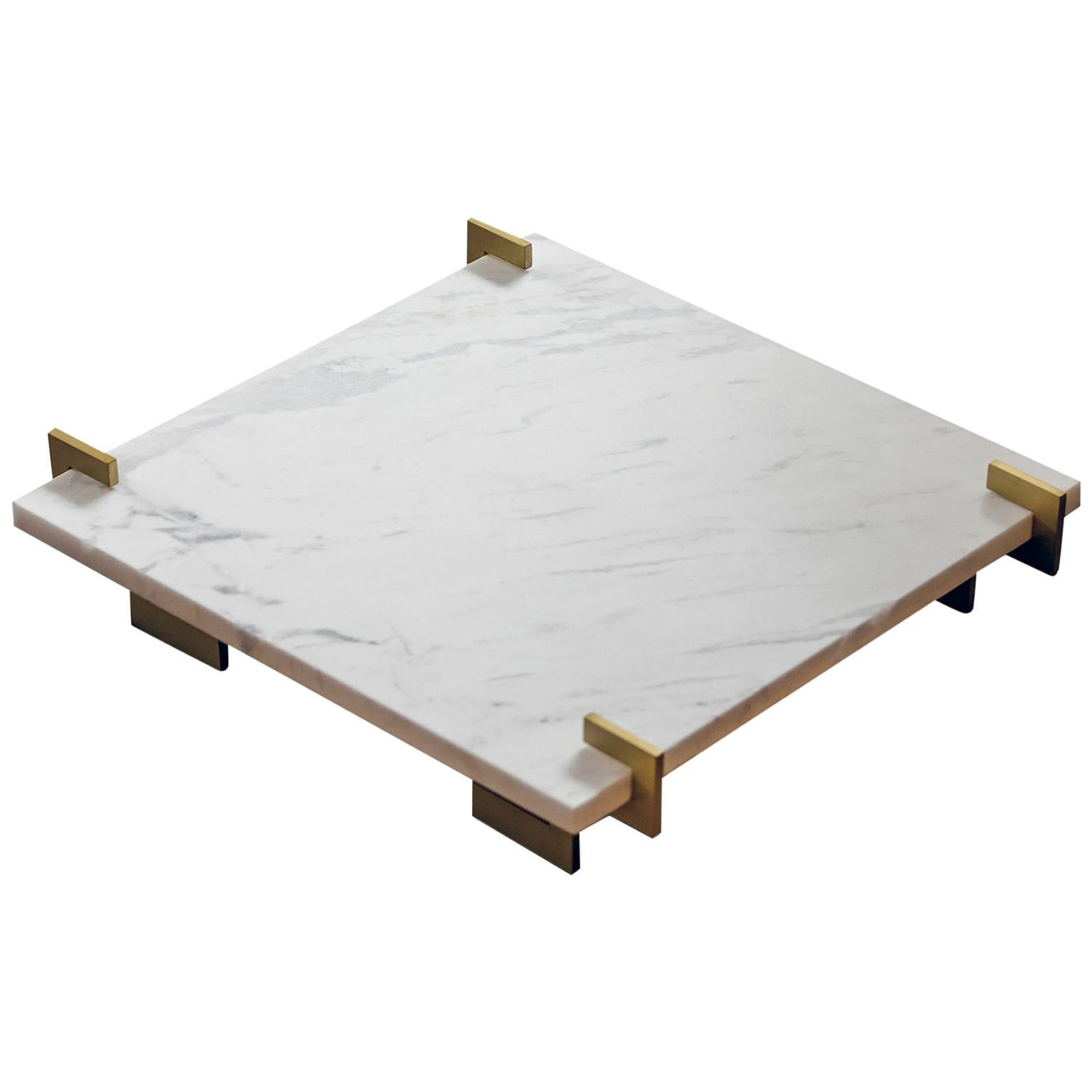 """Contemporary Handcrafted Square Tray """"Aeolos"""" in Marble and Brass by Anaktae"""