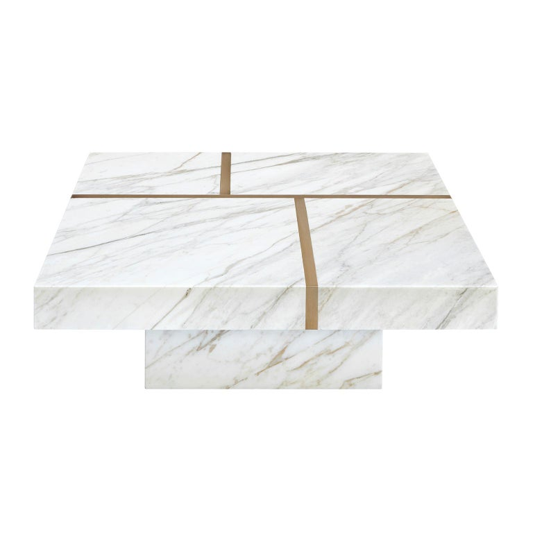 "Contemporary Handcrafted Table ""Baies"" in Marble with Brass Linear Pattern For Sale"