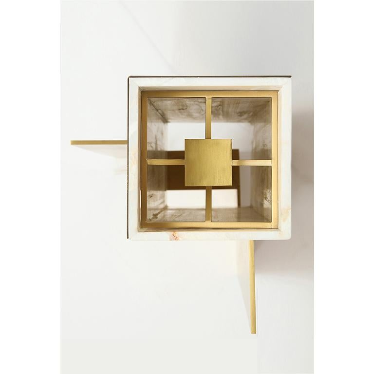 Translucent Marble Lampshade and Brass Table Lamp