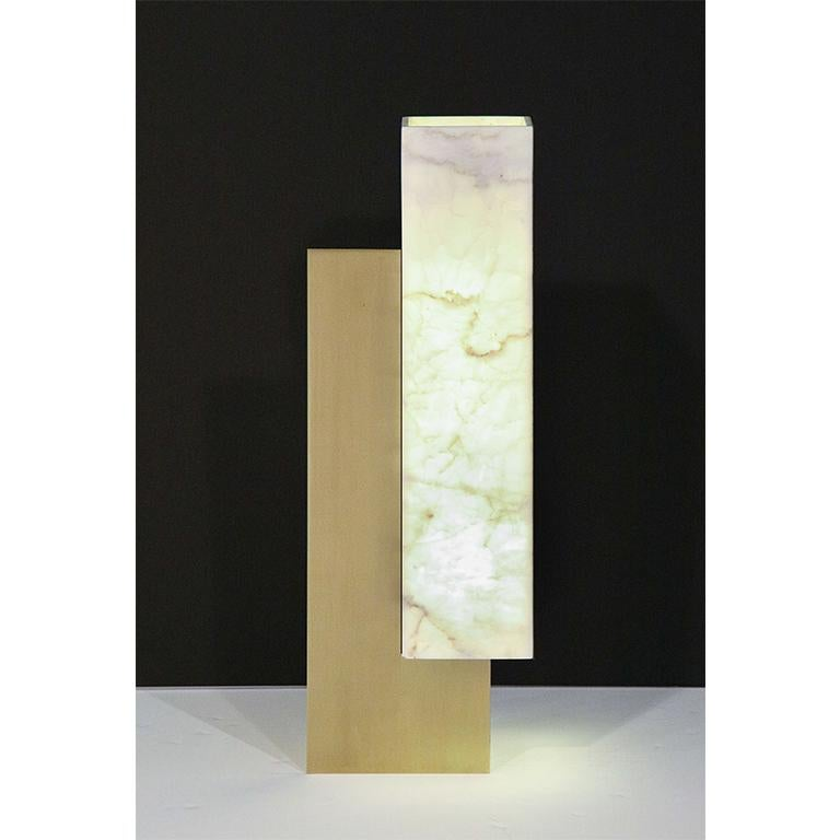 Modern Translucent Marble Lampshade and Brass Table Lamp