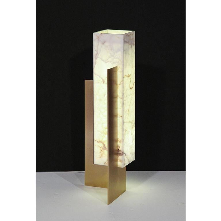 Hand-Crafted Translucent Marble Lampshade and Brass Table Lamp