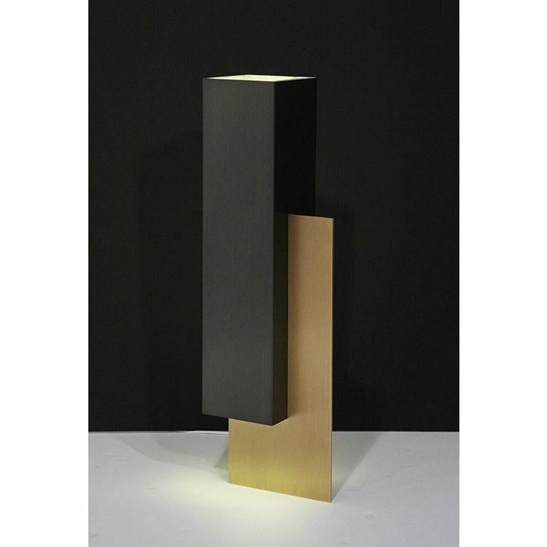 Contemporary Translucent Marble Lampshade and Brass Table Lamp