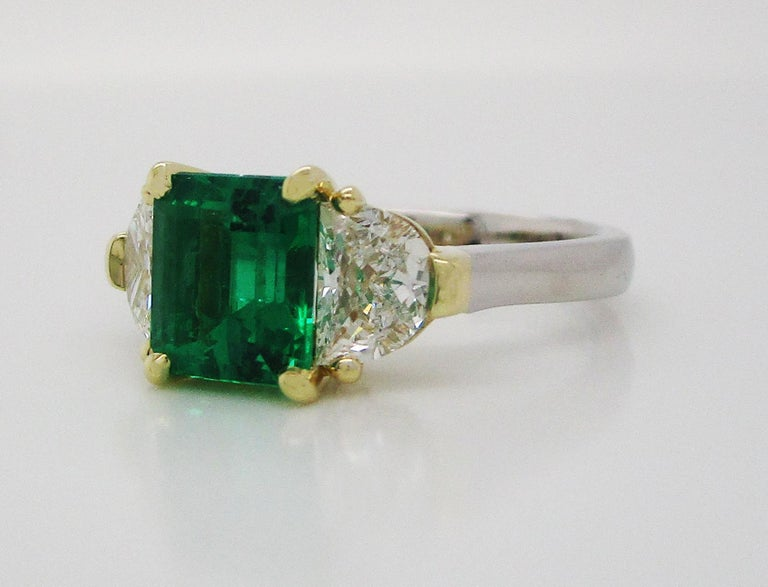 Emerald Cut Contemporary Handmade 18K Yellow Gold Platinum Emerald Diamond Three-Stone Ring For Sale