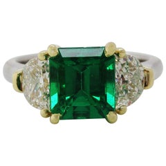 Contemporary Handmade 18K Yellow Gold Platinum Emerald Diamond Three-Stone Ring