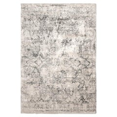 Contemporary Handmade Beige and Gray Abstract Silk and Wool Rug