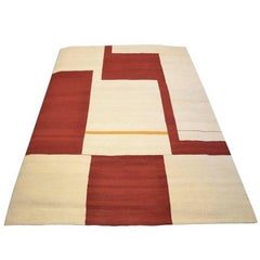 Contemporary Handmade Beige and Red Flat-Weave Wool Kilim Rug