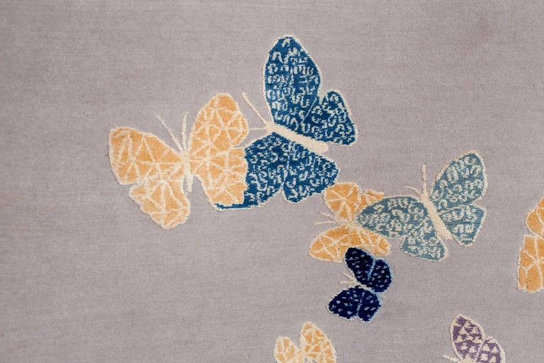Hand-Knotted Contemporary Handmade Beige Wool & Silk Rug with Butterfly, custom size & colors For Sale