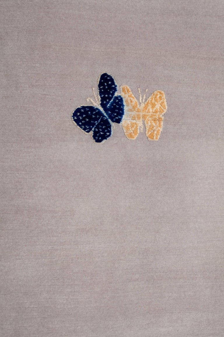 Contemporary Handmade Beige Wool & Silk Rug with Butterfly, custom size & colors In New Condition For Sale In Brooklyn, NY