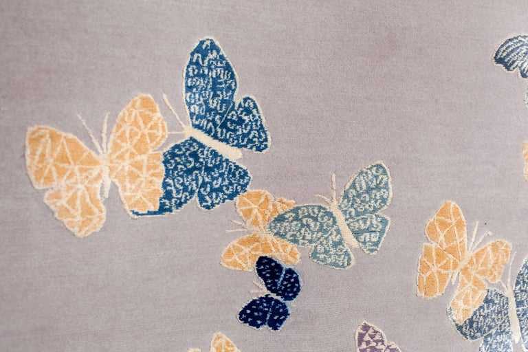 Contemporary Handmade Beige Wool & Silk Rug with Butterfly, custom size & colors For Sale 1