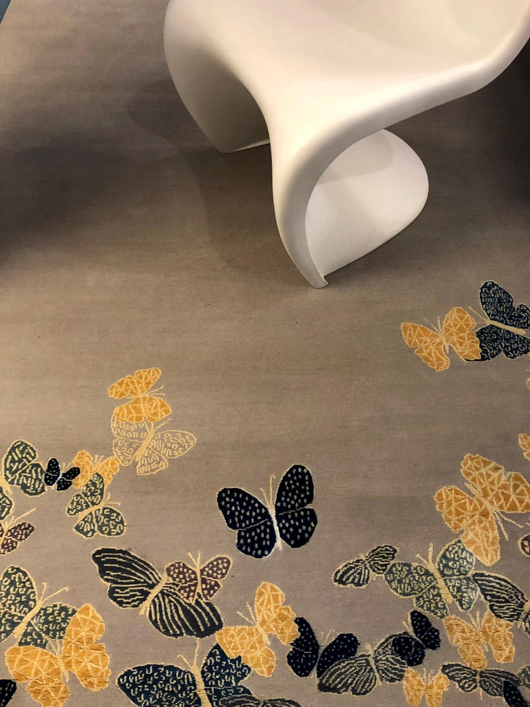 Other Contemporary Handmade Beige Wool & Silk Rug with Butterfly, custom size & colors For Sale