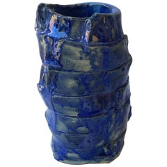 Contemporary Handmade Blue Ceramic Vase by Superpoly