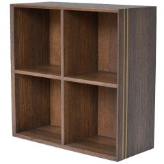 Contemporary Handmade Bookcase in Stained Oak with Brass Decor