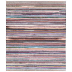 Contemporary Handmade Colorful Turkish Oversize Square Flat-Weave Rug