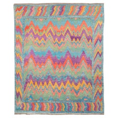 Contemporary Handmade Colorful Turkish Shag Room Size Rug