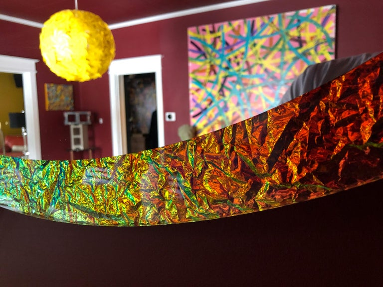 Futurist Contemporary Handmade Crazy Mirror in Dichroic Glass by Troy Smith For Sale