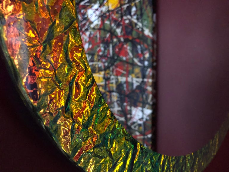Other Contemporary Handmade Crazy Mirror in Dichroic Glass by Troy Smith For Sale