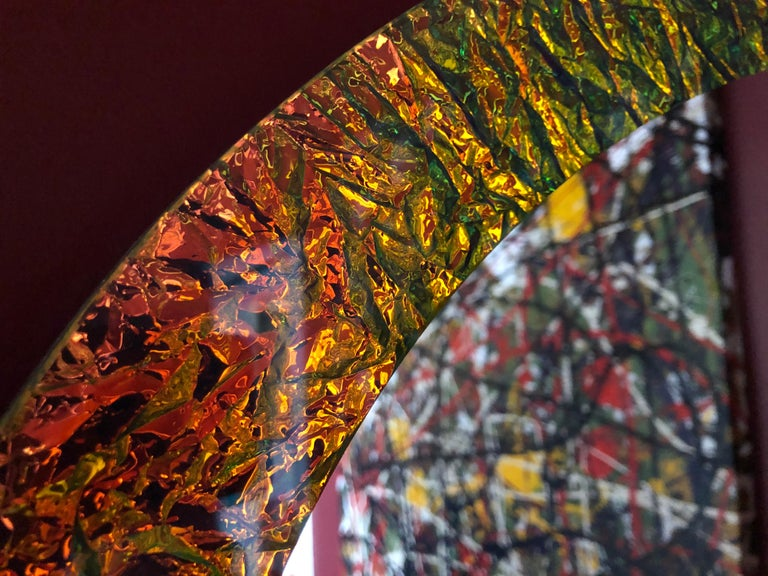 Contemporary Handmade Crazy Mirror in Dichroic Glass by Troy Smith In New Condition For Sale In Toronto, Ontario
