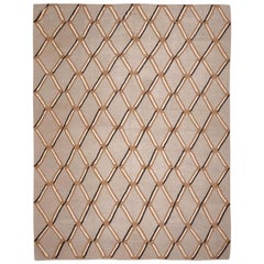 Contemporary Handmade Earth Colors Wool Rug