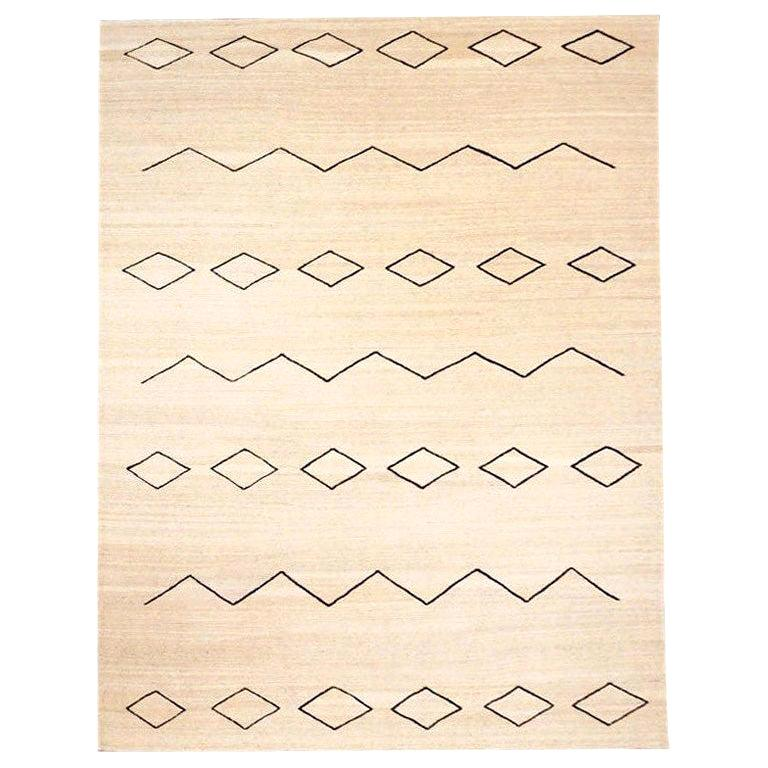 Contemporary Handmade Flat-Wave Beige and Black Kilim Wool Rug