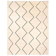 Contemporary Handmade Flat-Wave Black and Beige Kilim Wool Rug