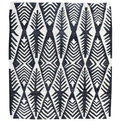 Contemporary Handmade Flat-Weave Black and White African Collection Rug