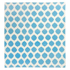 Contemporary Handmade Flat-Weave Blue and Beige Colors