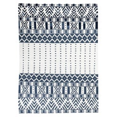 Contemporary Handmade Flat-Weave over Black and White Kilim Wool Rug
